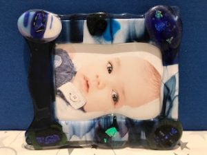 Blue Glass Fusion Picture Frame