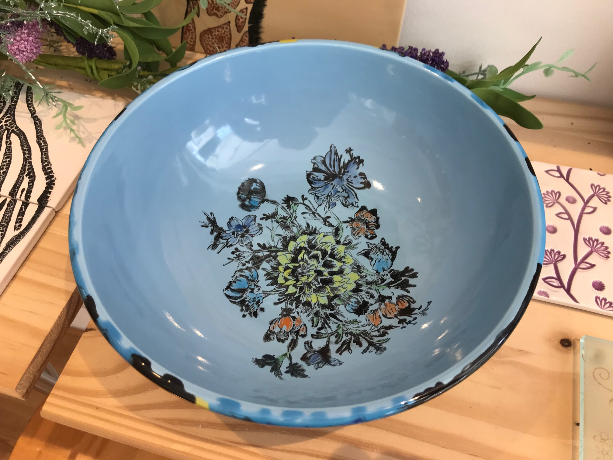 Crystal Glazes and Silkscreen Bowl