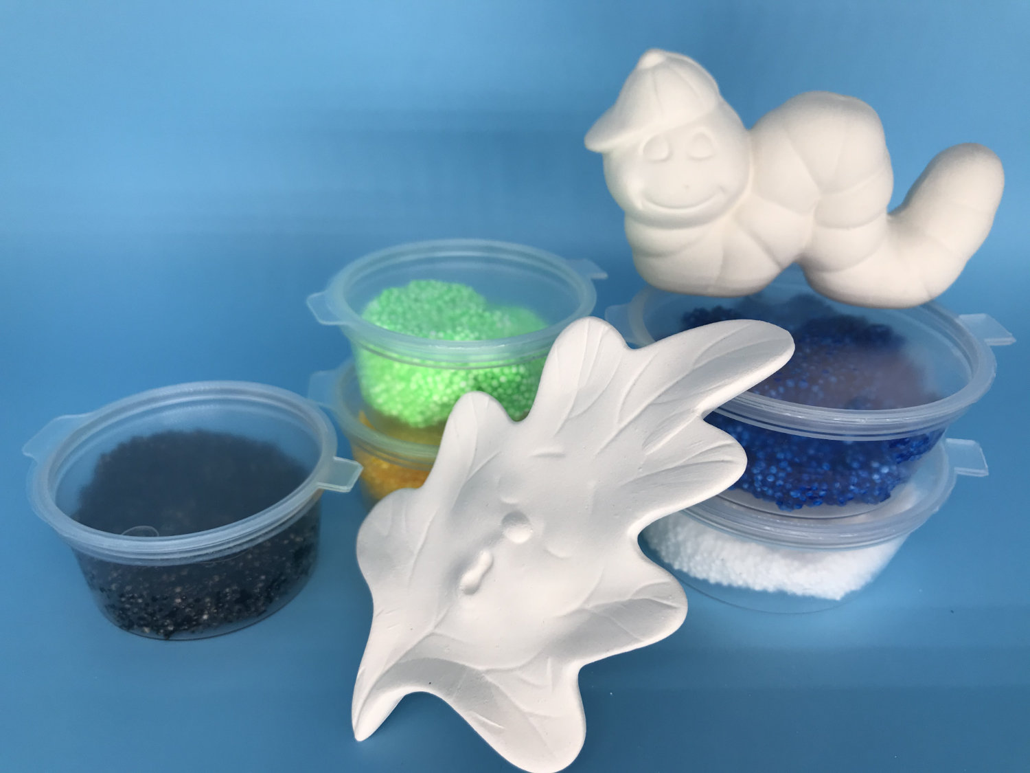 Foam Clay Kit-Worm With Hat and Yawning Leaf Pair (Worm H4cm W7.5cm D2.5cm Leaf H9cm W6cm D1.5cm)